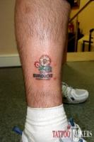 тату логотип евро 2012 на ноге в цвете