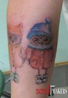татуировка совушки на руке
