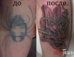Перекрытие старой татуировки клопа на тризуб.