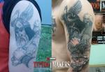 Обновление и коррекция старой татуировки на плече.